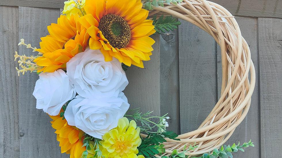 Clustered summer half wreath for front door