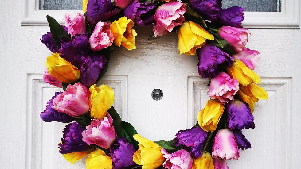 All tulip spring door wreath