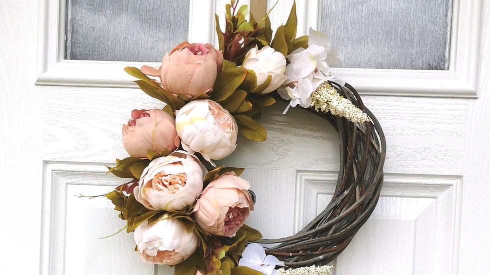 Vintage peony half wreath, dark wreath