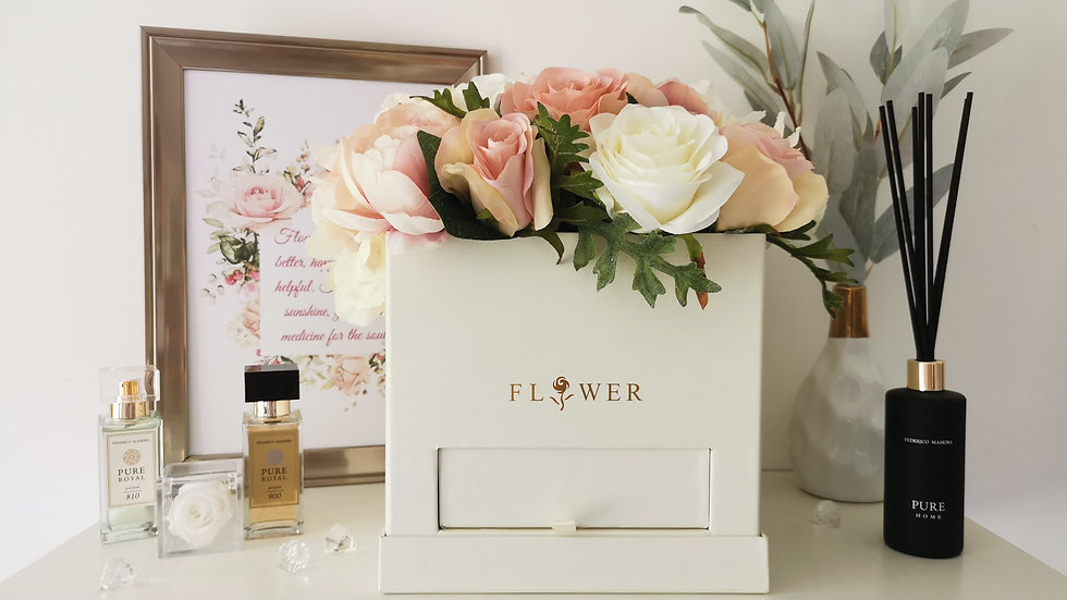 Artificial floral hat box with perfume