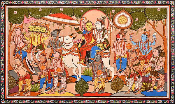 Lord Shiva Taking his Bride Parvati Home with His Baraat