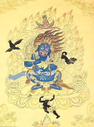 Tibetan Buddhist Two Armed Mahakala in Cremation Ground