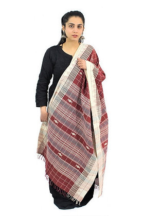 Organic Dyed Maroon Kotpad Pure Cotton Dupatta With White Border