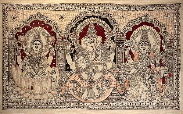 Lakshmi-Ganesha-Saraswati In All Their Finery