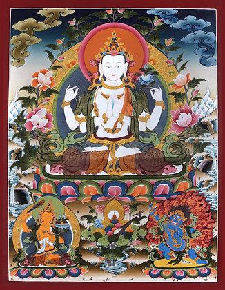 Superfine Four-Armed Avalokiteshvara (Super Large Chenrezig) - Tibetan Buddhist