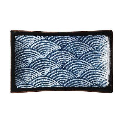 Blue wave pattern Ceramic plate Western tableware