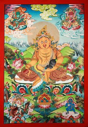 Superfine Tibetan Buddhist Deity Kubera - Brocadeless Thangka