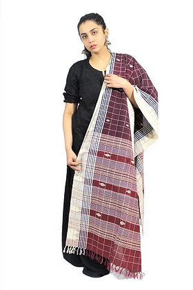 Organic Dyed Chestnut-Maroon Kotpad Pure Cotton Dupatta With White Border