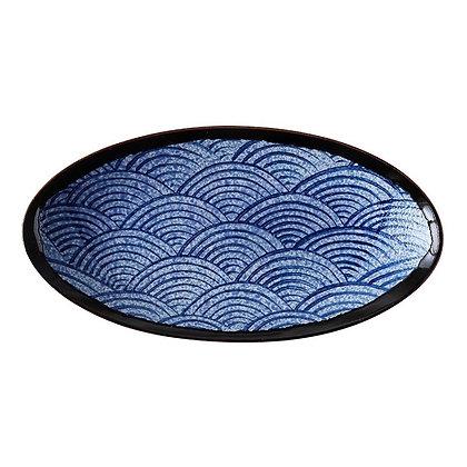 Japanese oval ceramic plate Blue wave pattern Western steak bread cake tray