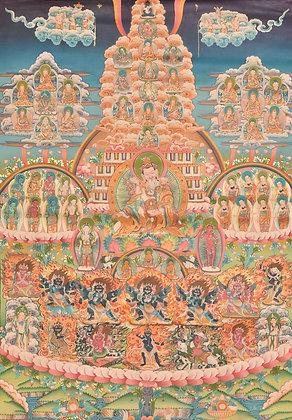 Superfine Museum Quality Thangka of Guru Padmasambhava's Lineage - Tibetan Buddh