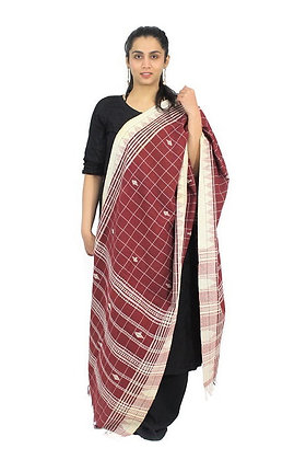 Organic Dyed Red Kotpad Pure Cotton Dupatta With White Border