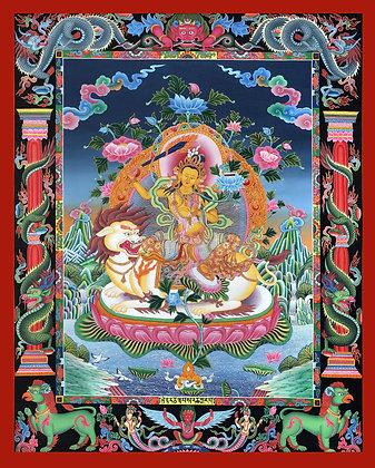 Superfine Tibetan Buddhist Deity Manjushri Seated on Lion - Brocadeless Thangka