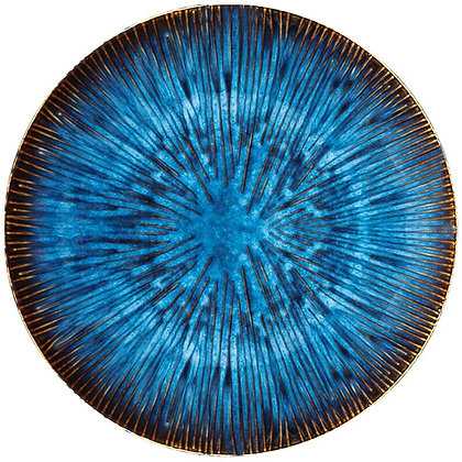 Japanese Retro Blue Kiln Ceramic Steak Western Dish Fruit Plate