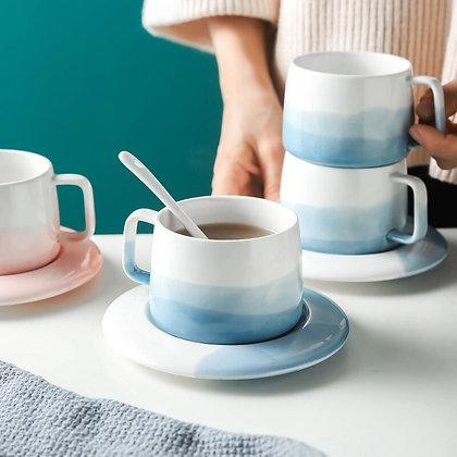 Blue pink Ceramic coffee cup set
