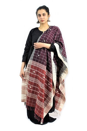 Organic Dyed Red-Maroon Kotpad Pure Cotton Dupatta With White Border
