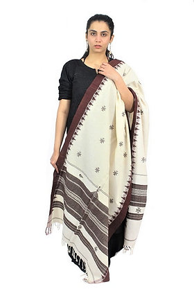 Organic Dyed Off-White Kotpad Pure Cotton Dupatta With Brown Border