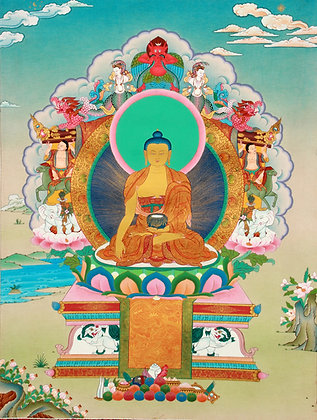 Tibetan Buddhist Superfine Thangka - Shakyamuni Buddha Seated on the Six-Ornamen
