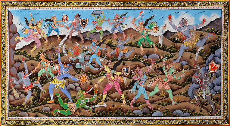 An Episode from Devi Mahatmya (Matrikas Fighting against Demons)