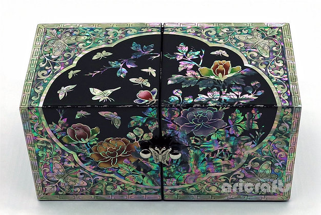 Mother of Pearl Box Inlaid Wood Secret Keepsake Treasure Jewelry Box