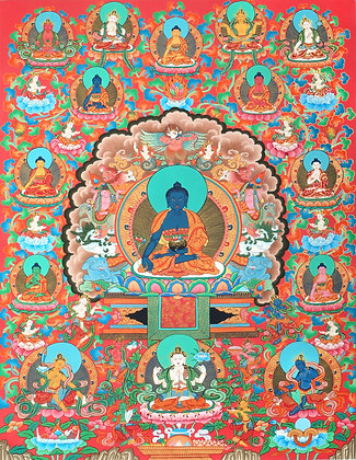 Superfine Medicine Buddha On The Six-Ornament Throne of Enlightenment in His Uni