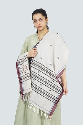 Organic Dyed White Kotpad Pure Cotton Stole