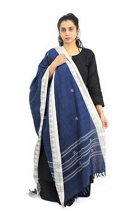 Organic Dyed Blue Kotpad Pure Cotton Dupatta With White Border