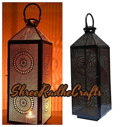 Black Gold Flashy Moroccan Lantern Turkish Candle Holder Arabian Chandelier