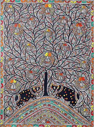 Dense Tree of Life Made of Birds and Fishes