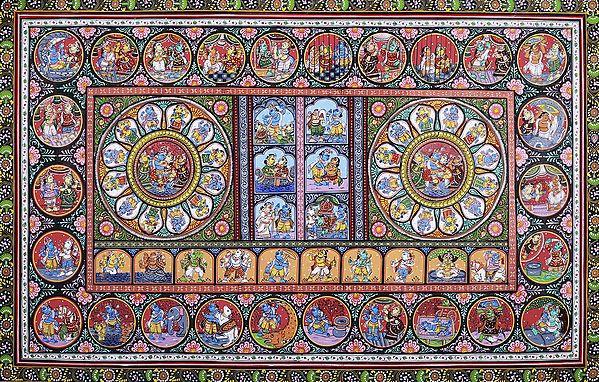 Richly Coloured Composite Pattachitra Featuring The Dashavatara