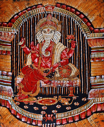 Lord Ganesha Poised on a Cushion Chowki