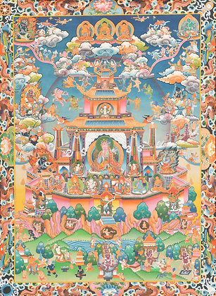 Paradise Of Tibetan Buddhist Deity Padmasambhava (Superfine Thangka)