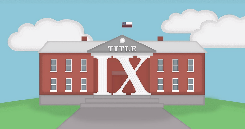 "A cartoon image of a school with pillars in the form of ""IX"" that say ""TITLE"" above them"