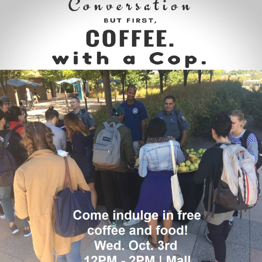 """Poster for """"Coffee with a Cop"""" event at SUNY Purchase"""