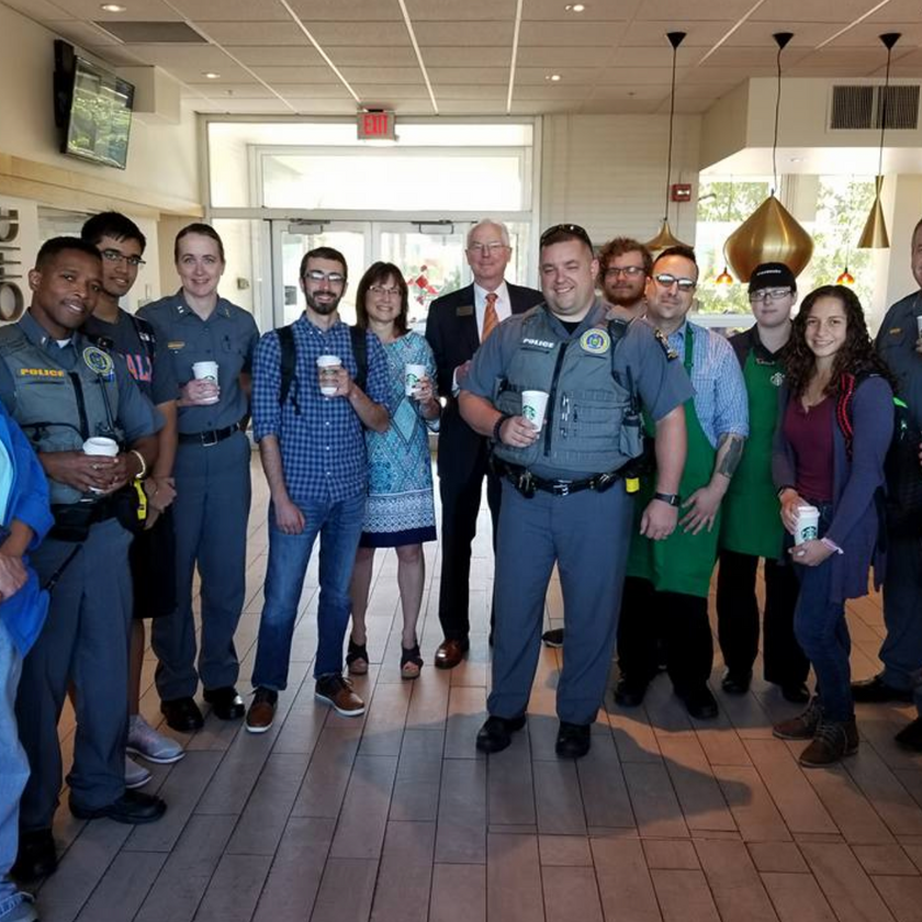 """Police and community members stand together at New Paltz """"Coffee with a Cop"""" event"""