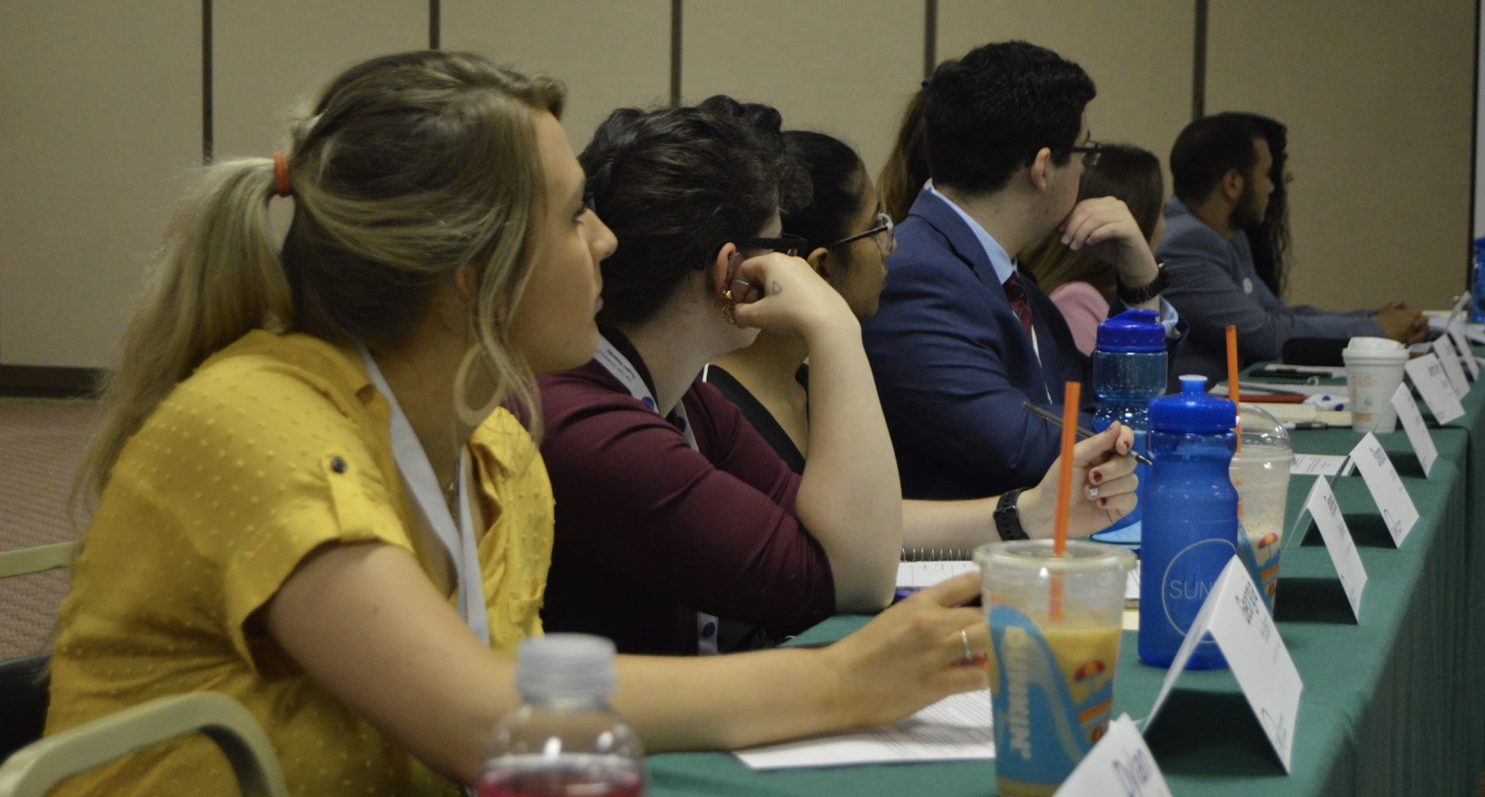 Members of the Executive Committee sitting at a table during the business meeting, looking towards a presenter who is not pictured