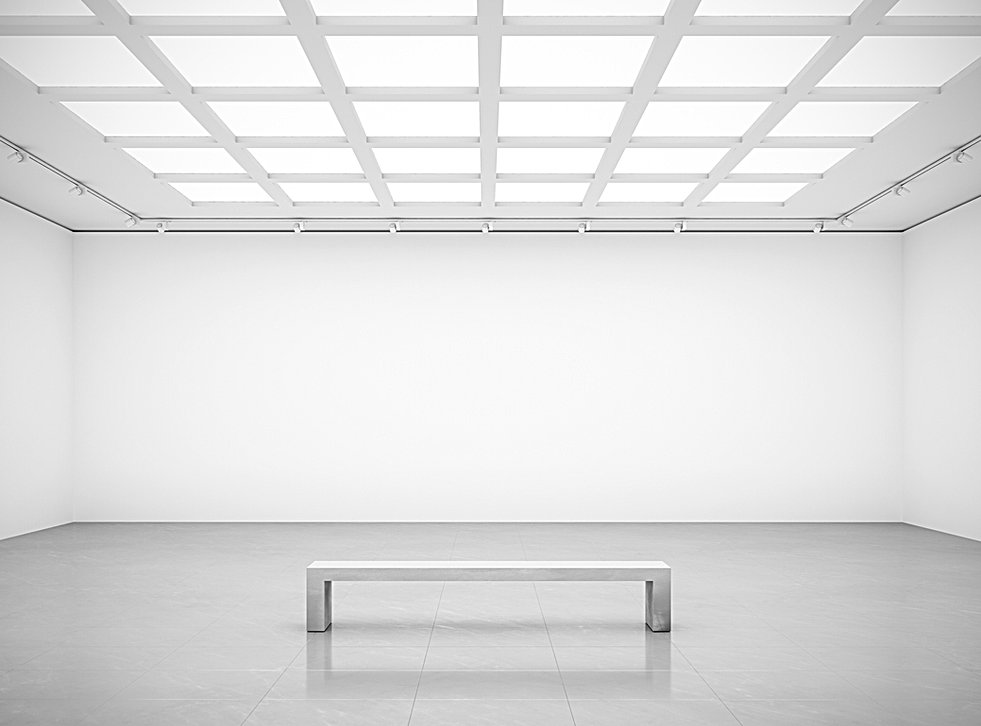 White cube blank walls gallery room fron
