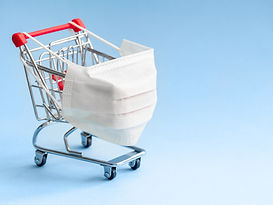 Shopping cart with protective medical ma