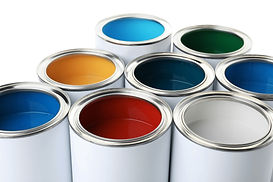 Open paint cans on white background, clo