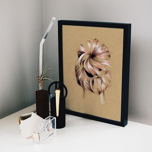 Buns N Roses print on desk   Chook the Emu