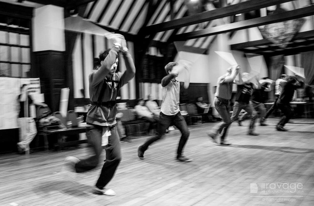 Fight scene rehearsals