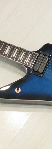 Gaskell left handed Explorer in blueburst with DiMarzio pickups