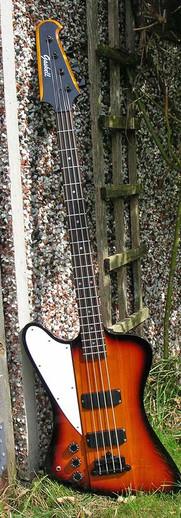 Gaskell Thunderbass, left handed Thunderbird style bass guitar
