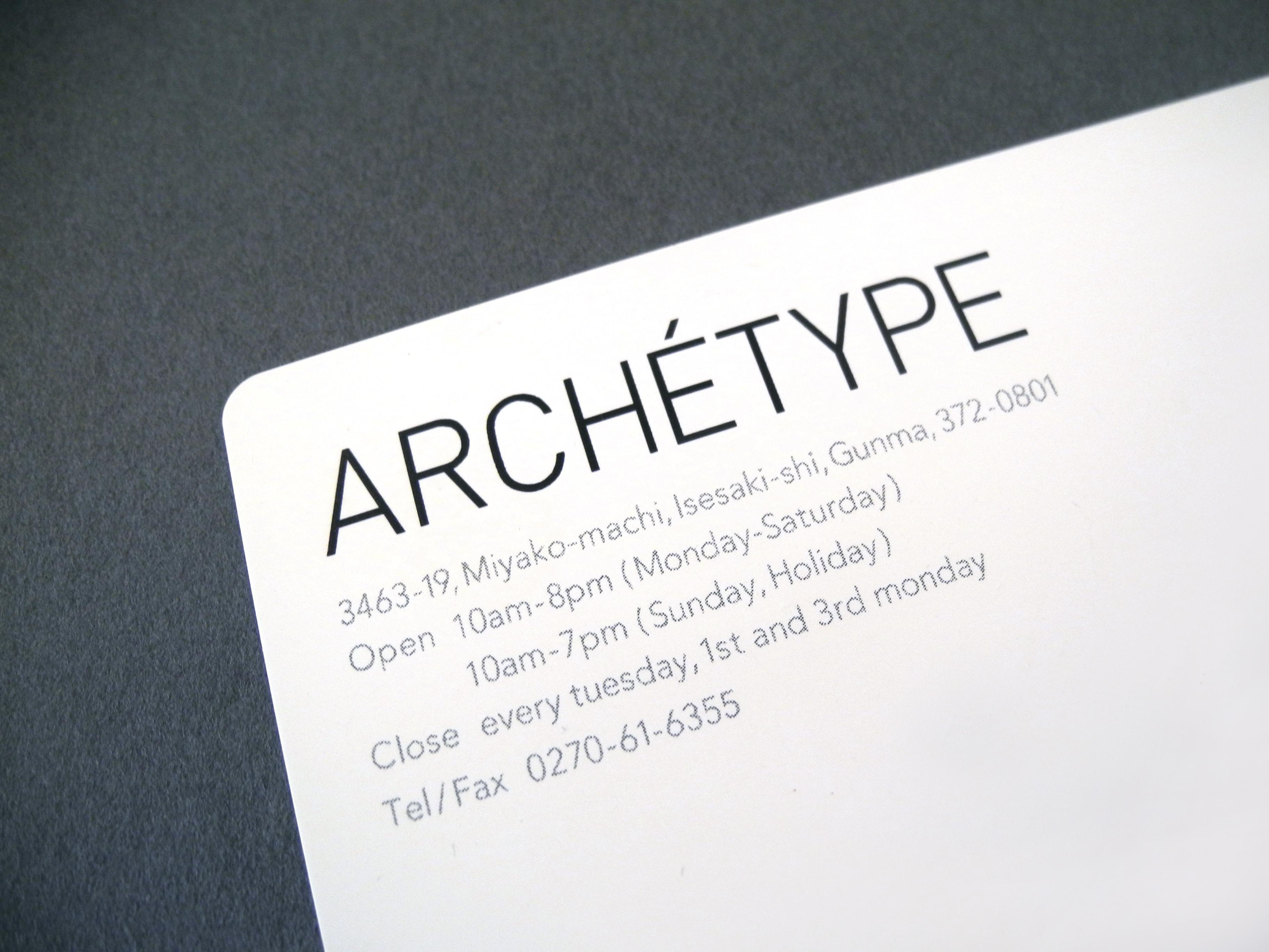 ARCHETYPEショップカード