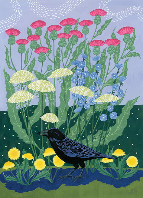 Crow with flowers.sm.jpg