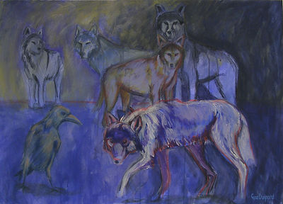 wolf painting, atmospheric wolf, stalking wolf, scary wolf