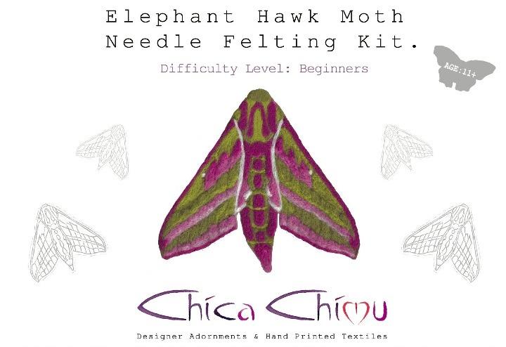 Elephant Hawkmoth Needle Felting Kit