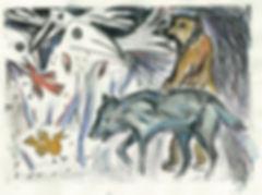 to catch a golden bird, monoprints, illustration, chica chimu, wolf print, wolf art, bear print, hand printed wolf