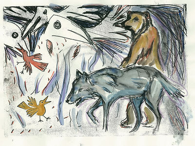 to catch a golden bird, monoprints, illustration, chica chimu, wolf print, wolf art, bear print, hand printed wolf