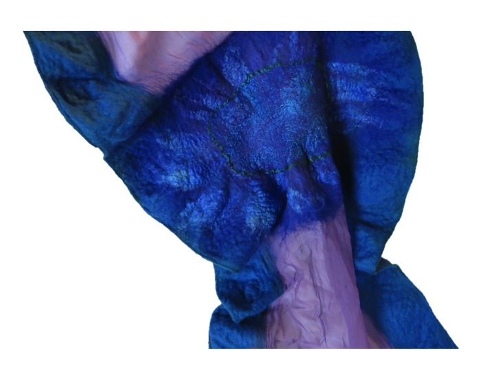 Blue Nuno Felted Scarf Detail