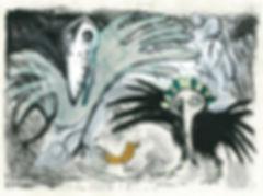 bird print, hand printed birds, to catch a golden bird, fantasy birds, monoprinted bird